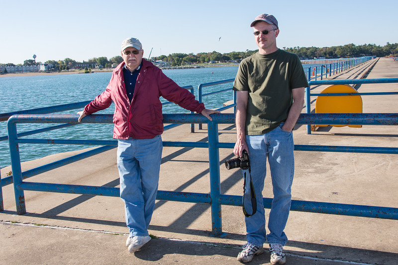Dad and Eric on Port Austin Breakwall - October 2013