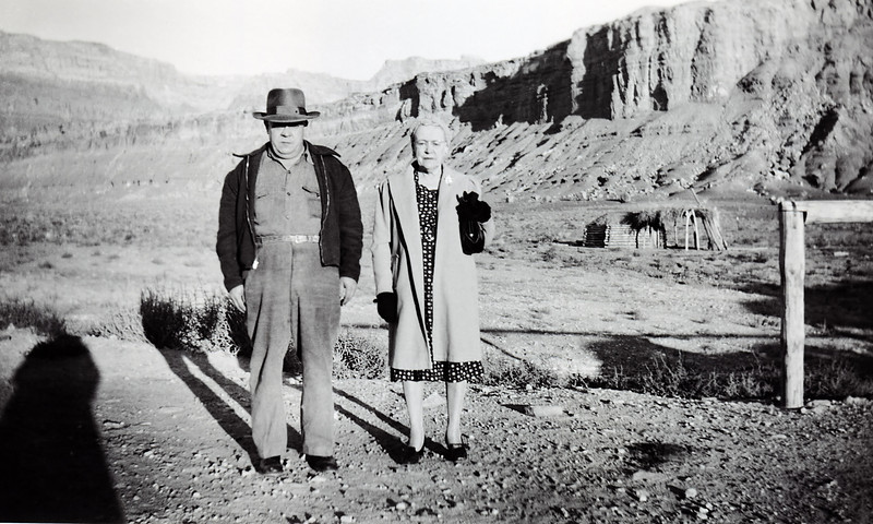 Vernon and Minnie Raver in Marble Canyon Arizona 1949. In every one of Minnie's snapshots Vernon strikes the same pose.