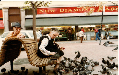 Lady and Pigeons, Market Square