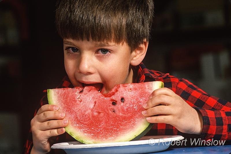 Model Released, 5 year old boy, eating, watermelon, taste