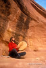 Model Released, Man beating Drum, Canyon Country, Canyonlands National Park, Souteastern Utah, USA, North America