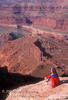 Model Released, Woman in Contemplation, Dead Horse Point State Park, Utah, Looking toward Canyonlands National Park, Utah, USA