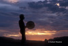 Model Released,Silhouette, Man beating Drum, Canyon Country, Canyonlands National Park, Souteastern Utah, USA, North America