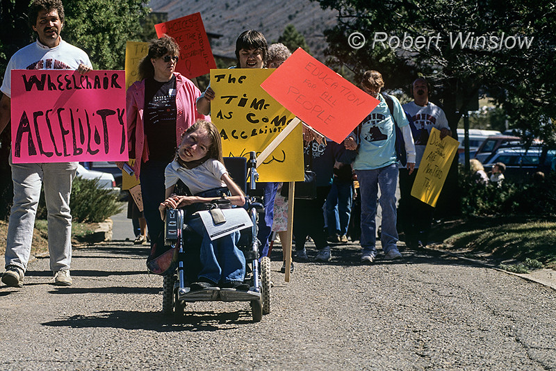 NoMR, Differently abled person, demonstrating for equal rights