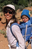 Model Released, Woman carrying young boy on her back, Colorado, USA, North America