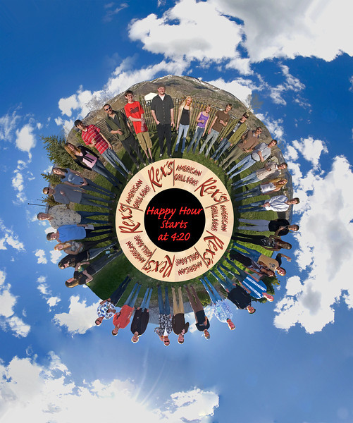 """Rex's staff 2007 winter season.   spherical panorama, converted to """"polar projection""""   small world."""