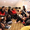 Miss Massachusetts USA Allissa Latham answers questions from teens during a visit to Girls Inc. in Lowell.  (SUN/Julia Malakie)