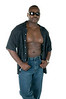 Black muscular man in shades jeans and unbuttoned shirt isolated on white background