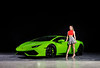 The contrasting colors work so well in this image.    Creating with my friends at NC AutoModels featuring Makayla and a beautiful Lamborghini..    ............................................  Shot for:  @nc.automodels   Model:  @makadelics   Coordinator: @melissa.xo.renee   Car: Lamborghini Huracan   Owner:  @limitlesslife_style  Location:  @bosworthcustoms   ................................................................