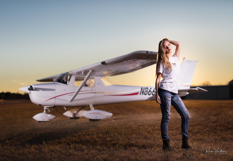 I love to work with complex lighting as it not only challenges but ultimately showcases the skill of the photographer.  This is a (4) light set up using Studio Monolights and various modifiers.  Here we have a beautiful pilot posing with her own plane in the background.  She had just completed her first solo flight earlier that week!     ............................... ..................................  Pilot/Model: @Savanah_Ritch  @NCaviatrix   Plane:  #Cessna150   Lighting Assistant:  @dwsphotographer   ..................................      ...................................