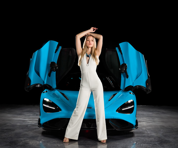 Impossible to take a bad photo of either one of these subjects.   ............................................  Shot for:  @nc.automodels   Model:  @laura_4031 Coordinator: @melissa.xo.renee  Stylist: Sarah DeCouto  Videographer:  Edgar Olvera   Car: McLaren 765LT  Dealership:  @mclarenclt    Owner:  @airlinerphoto1   Location: Bosworth Customs  ................................................................