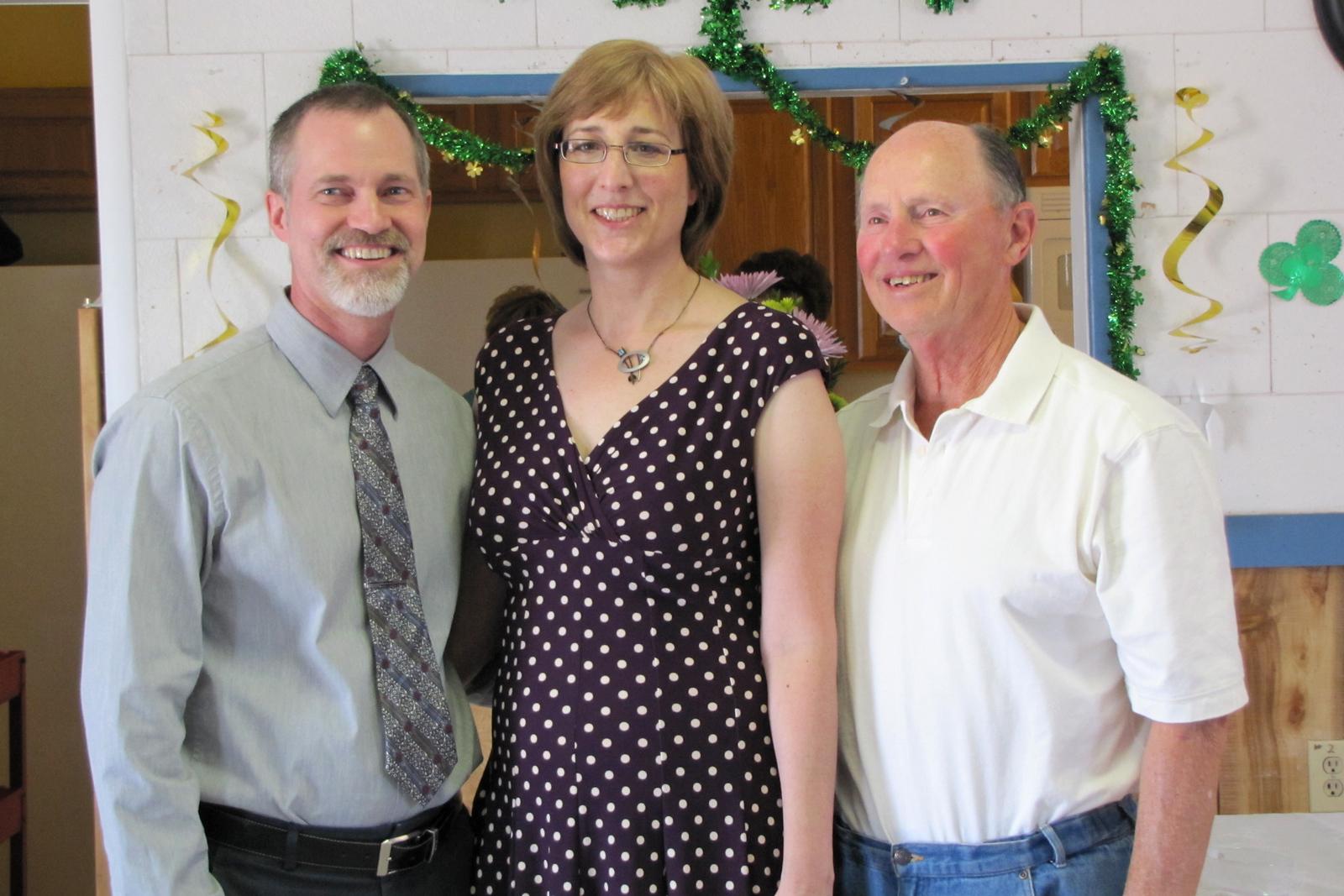 Matt and Karen Beck with Dean Beck (Matt's father). Wanda and Willie Moeller's 50th Wedding Anniversary celebration, Gila Mt. RV Park, Yuma, AZ. Mar. 10, 2012.