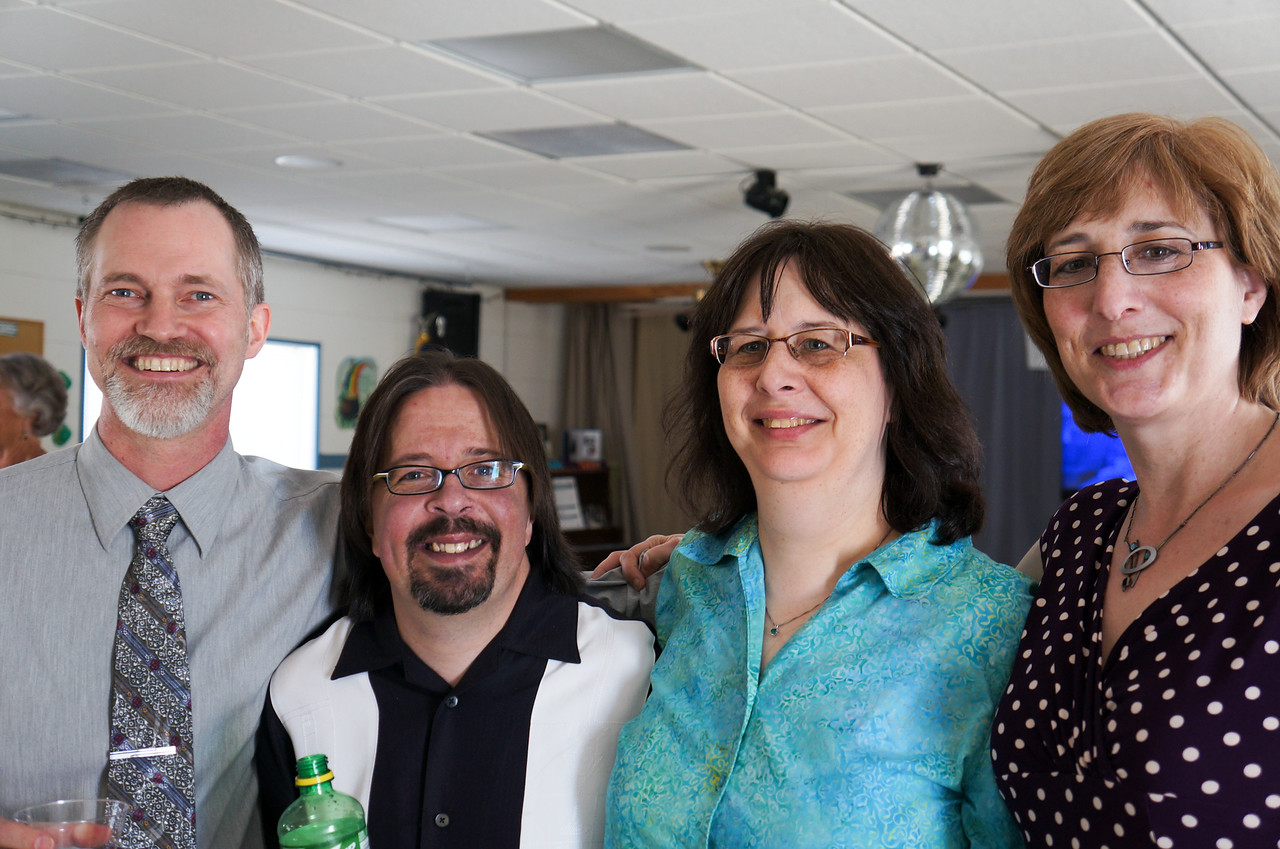 Matt Beck, Craig Harrison, Annette Harrison, and Karen Beck. Wanda and Willie Moeller's 50th Wedding Anniversary Celebration, Gila Mt. RV Park, Yuma, AZ. Mar. 10, 2012.