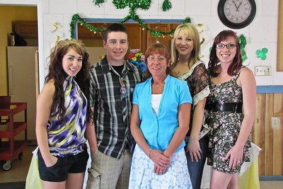 Cheri Culy and kids: Ashley, Jordan, Cheri, Allison, and Leah. Wanda and Willie Moeller's 50th Wedding Anniversary Celebration, Gila Mt. RV Park, Yuma, AZ. Mar. 10, 2012.
