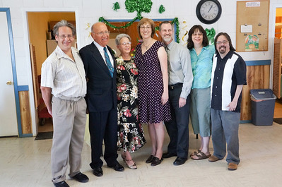 Willie and Wanda with their children and spouses. Rick Moeller, Willie and Wanda Moeller, Karen and Matt Beck, and Annette and Craig Harrison. Wanda and Willie Moeller's 50th Wedding Anniversary Celebration, Gila Mt. RV Park, Yuma, AZ. Mar. 10, 2012.