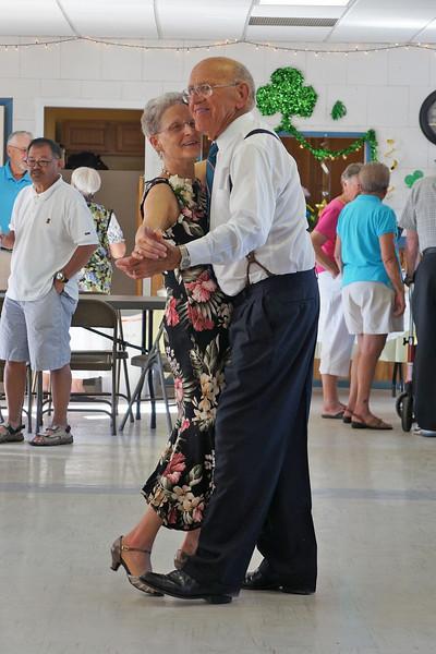 Wanda and Willie Moeller dancing at their 50th Wedding Anniversary celebration, Gila Mt. RV Park, Yuma, AZ. Mar. 10, 2012.