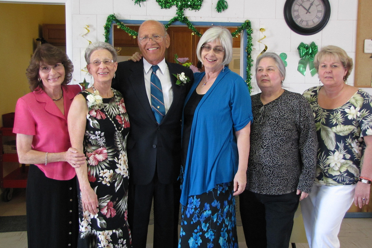 Carol Whitney, Wanda and Willie Moeller, Edie Kapuscinski, Pearl Kapuscinski, and Sue Whitney. Wanda and Willie Moeller's 50th Wedding Anniversary celebration, Gila Mt. RV Park, Yuma, AZ. Mar. 10, 2012.