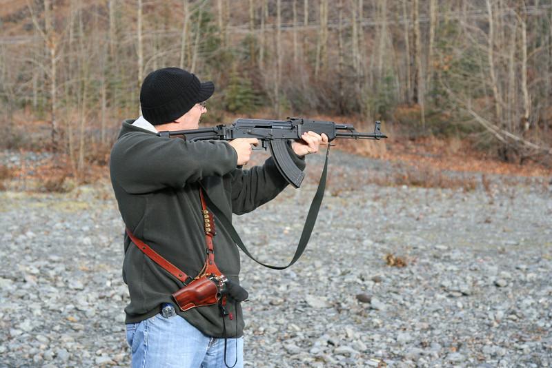 Bob practicing his shooting.