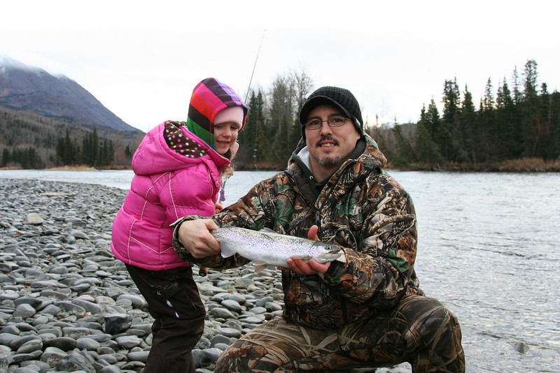 Ava and Daddy with a nice raindow trout that Ava caught.
