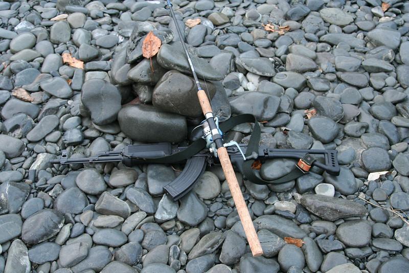 Fishing poles and guns.  Welcome to Alaska!