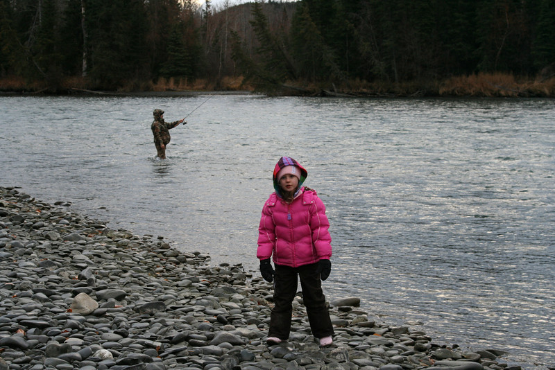 Ava keeping warm while we do some fishing in the Kenai River.