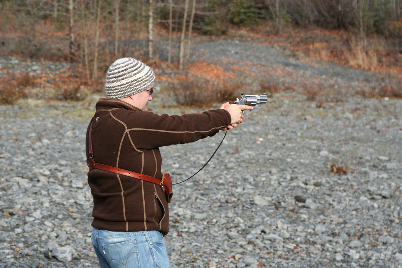 Tom practicing with a hand cannon.