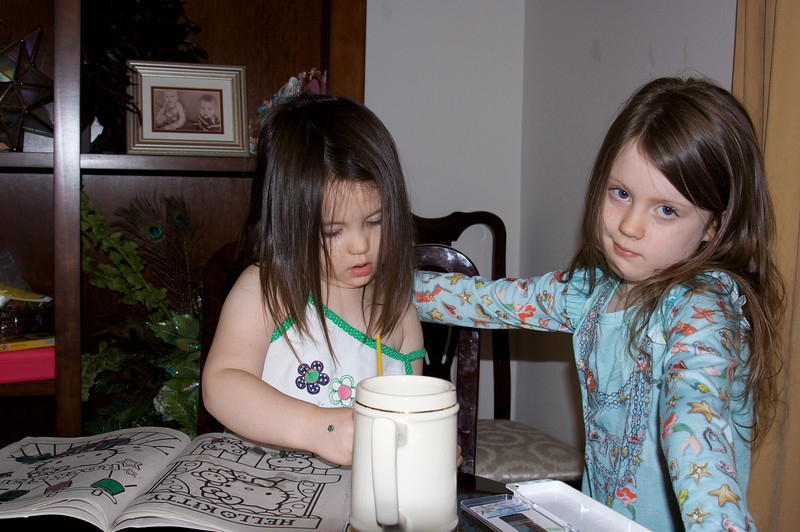 Bell Bell and Ava doing some coloring.