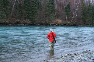 Tom fishing for rainbow trout but keeping the AK-47 close in case of bears.