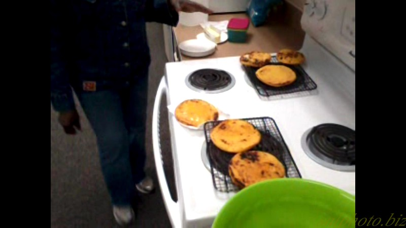 "Rosa Preparing Aretas (Colombian style corn pancakes)<br /> <a href=""https://youtu.be/Ma72Qvq_PFc"">https://youtu.be/Ma72Qvq_PFc</a>"