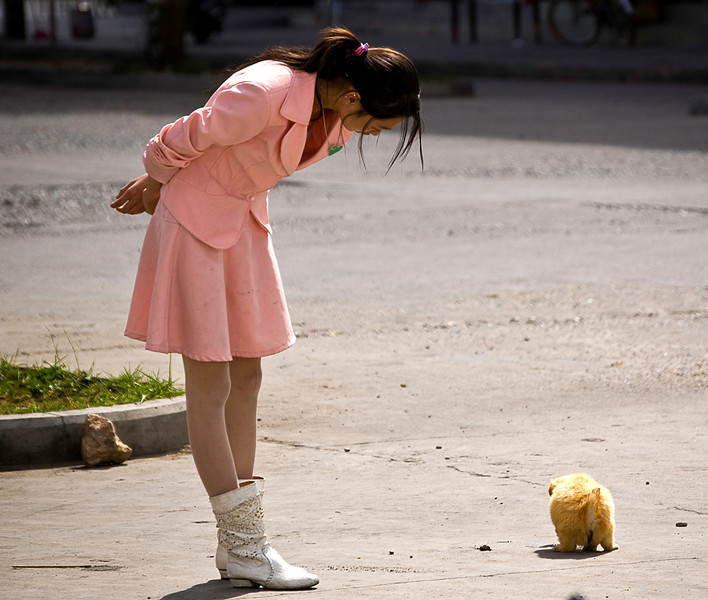 Chinese schoolgirl in uniform with her small dog, commercial district; Lhasa, Tibet