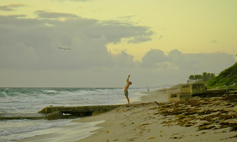 Surya Namaskar with seagull on the beach at Boynton, dawn on the Winter Solstice, 2011 (well actually a day after, but who's counting?)