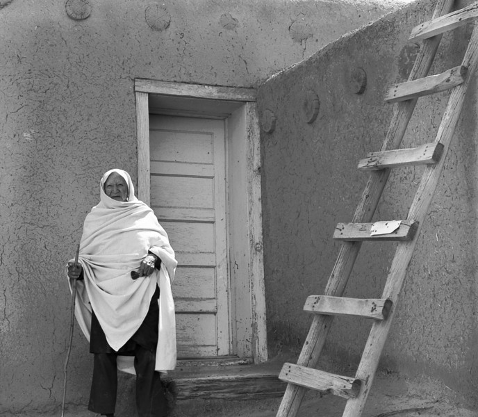 Back door, Sky City. A 4X5 scan taken in Acoma, NM in 1981. Acoma has been continuously occupied since the 12th century by people now called Pueblo Indians. It is the oldest of the oldest continuously occupied settlements in the Western Hemisphere.
