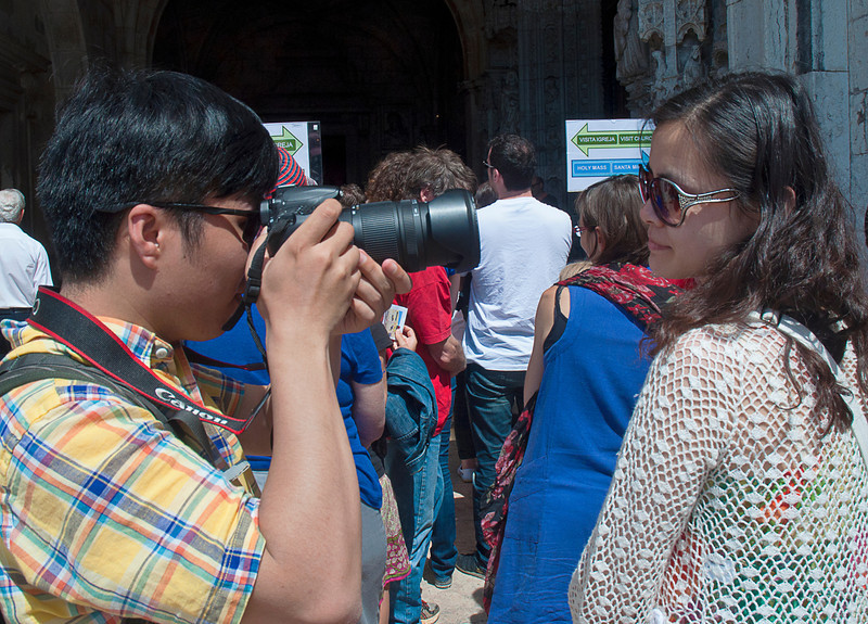 """Ever thou pursue her and ever she be fair.""<br /> <br /> Waiting in line to enter either the Santa Maria church or the Cloisters at Mostiero dos Jeronimos<br /> <br /> For more of Lisbon, see <a href=""http://smu.gs/16WKWJM"">http://smu.gs/16WKWJM</a>"
