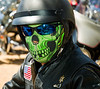 Harley rider in face cover and Oakley sunglasses, Luckenbach, TX