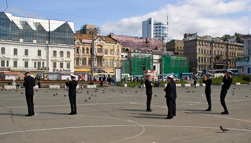 US Navy officers in Vladivostok, Russia