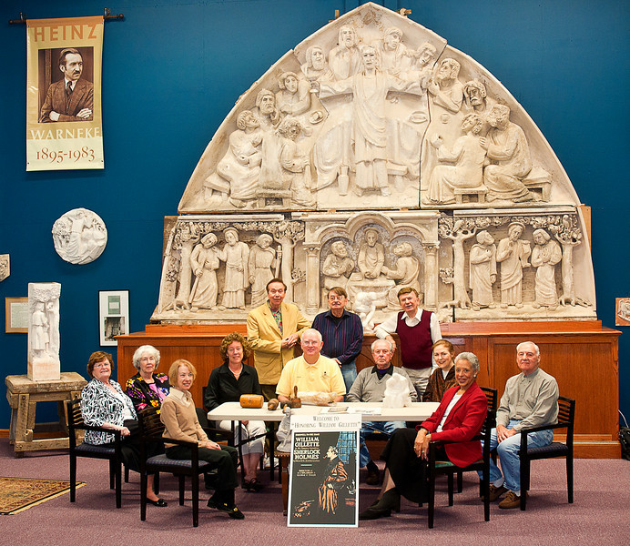 Not strangers -- the Board of the East Haddam Historical Society and museum in the new wing holding the Heinz Warneke tympanum for the National Cathedral. Warneke was a local artist of national repute who created -- among other iconic art deco images --  the Penn State Nittany Lion. (He was commissioned for this job by my mother's graduating class of 1940.)