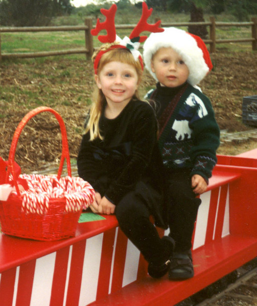 Sierra and Nicholas Hofstatter of Santa Barbara were<br /> captured in this snapshot during the 1998 Candy Cane<br /> Train.