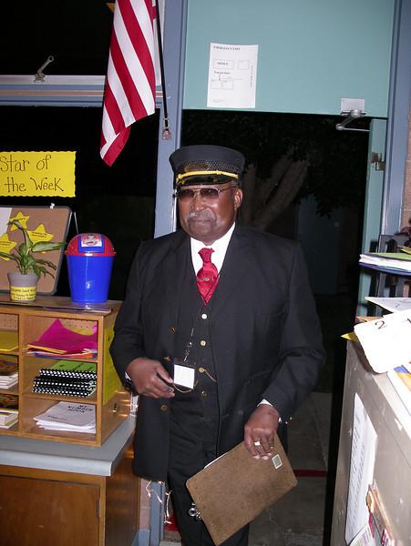 "William Simpson at La Patera School for holiday-season ""Polar Express"" program."
