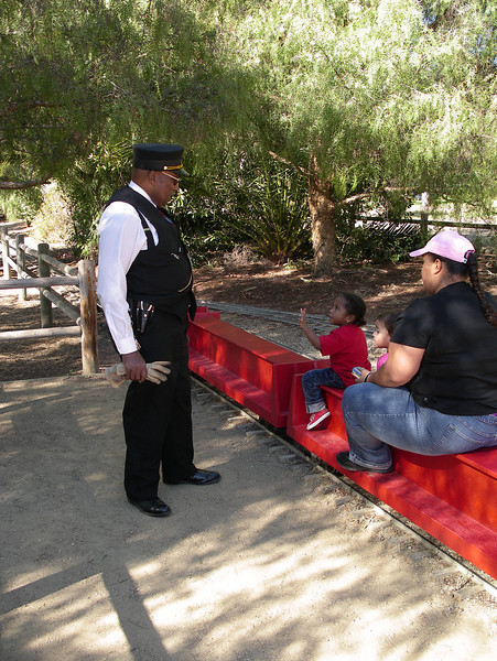 Conductor William Simpson gives safety instructions to Goleta Short Line passengers.