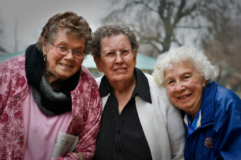 Senior Friends<br /> Mom, Leila, and Jo Ellen<br /> These three ladies are good friends and meet at the local Senior Center several days a week. I got this picture as they were leaving today.
