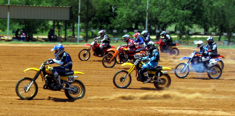 Holeshot, Cycle Ranch vintage racing, 2008.  My buddy John Murphy is riding bike #8, a 1979 Yamaha YZ250.