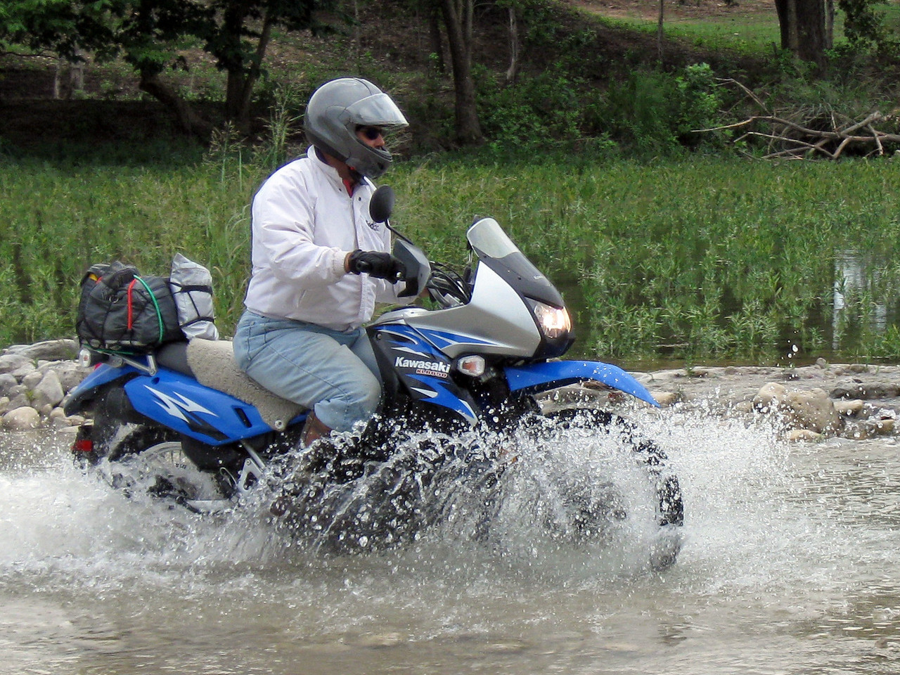 Anthony on water crossing, Texas hill country