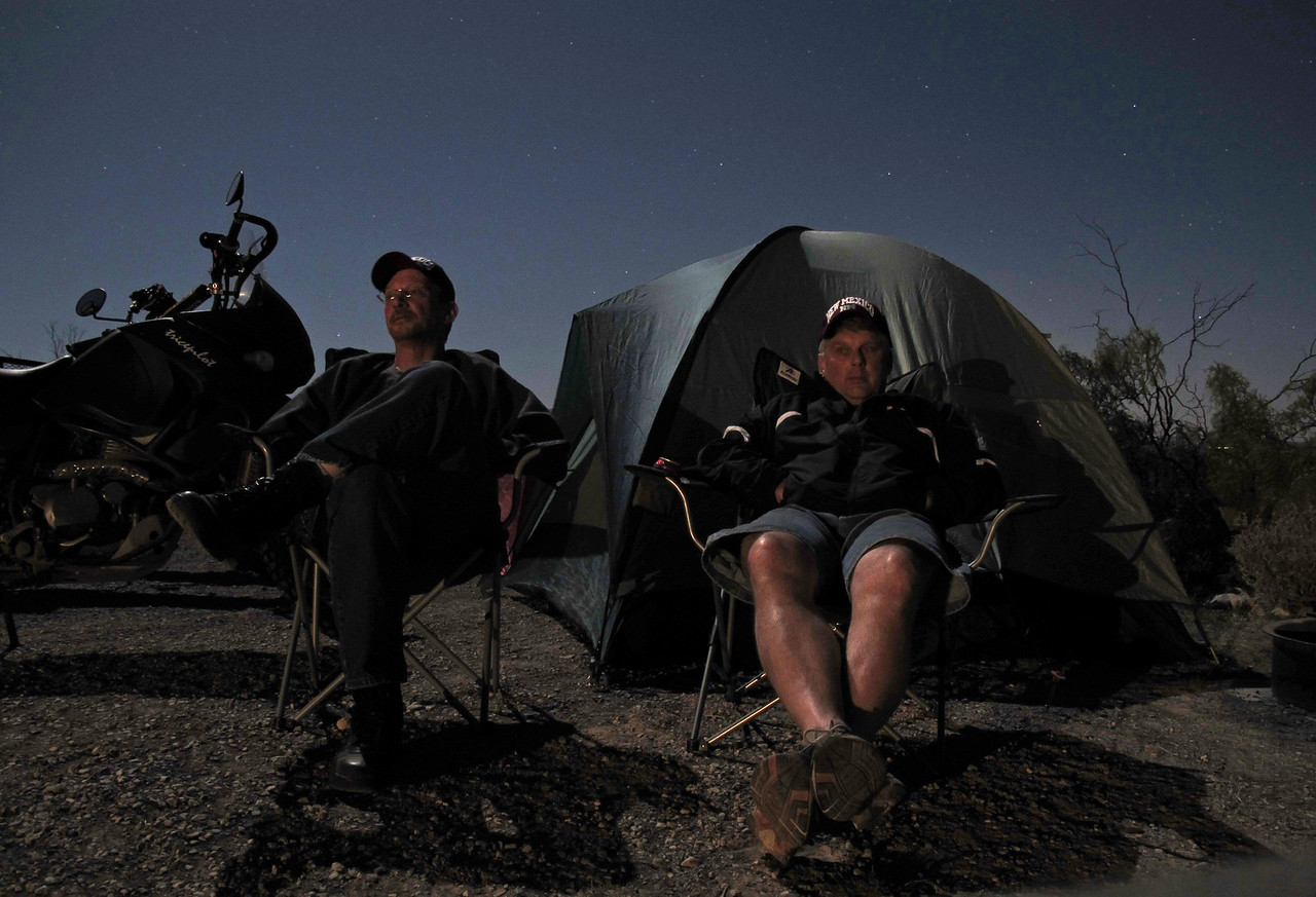 Under the light of a full moon.  Bob and John relaxing in camp at Oliver Lee Memorial State Park, Alamorgodo, NM, during a three day recon of the Lincoln National Forest, April 2010.