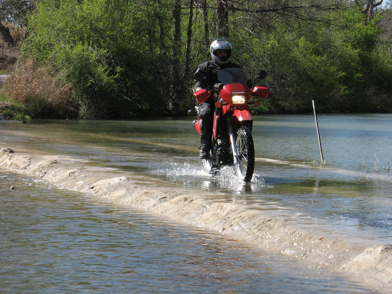Tom Wiley on a low water river crossing, Texas hill country.