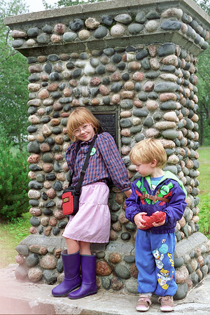 Helene and Jacob beside a memorial. I believe the monument is in or near Cochrane Ontario.