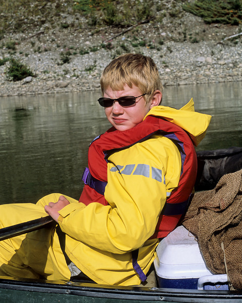 Giving me a cool canoe dude look.  Taken on the Yukon river between Carmacks and Dawson City.