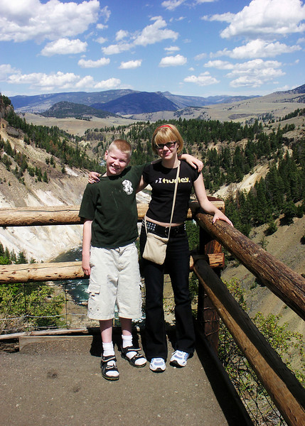 Helen and Jacob on the Canyon Falls overlook in Yellowstone.