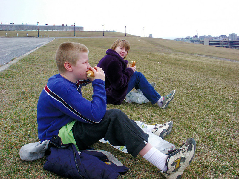 Lunch on Fort Henry hill.