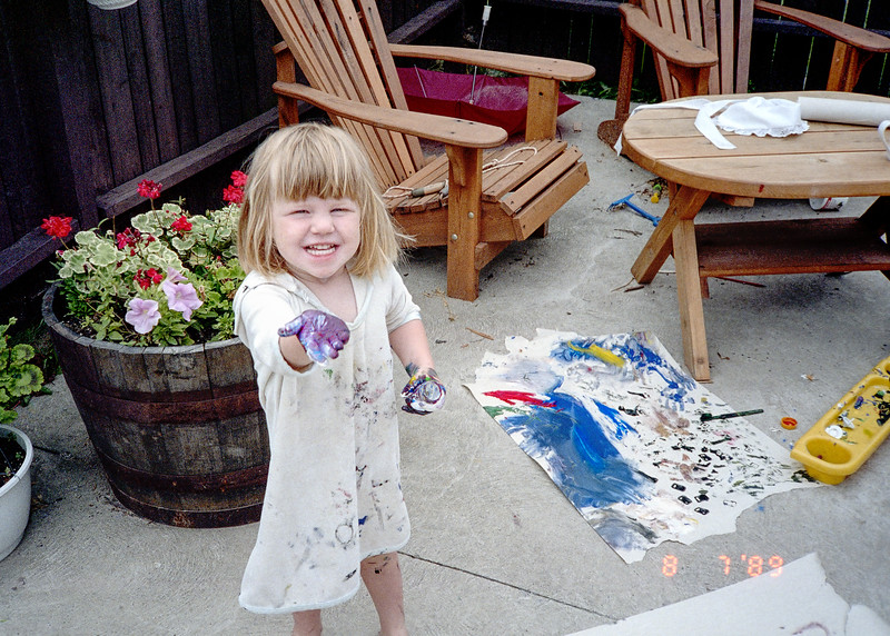 "Helen as a toddler artist. She maintained an artistic streak as a grown up. Last month she published her first novel. <a href=""https://www.amazon.com/Trey-Kate-C-B-Gabriel/dp/1687011508/ref=sr_1_26?keywords=Trey+%26+Kate&amp;qid=1568990969&amp;sr=8-26"">(Click here) to get a copy.</a>"