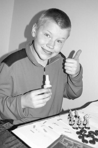Jacob working on his figurines: Ottawa 2004.